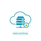 Web hosting server icon with internet cloud storage computing ne Royalty Free Stock Photography