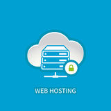 Web hosting server icon with internet cloud storage computing  Royalty Free Stock Images