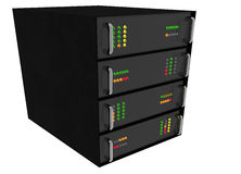 Web Hosting Server Rack on white Stock Images