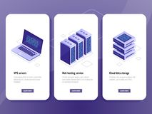 Web hosting service isometric icon, vps server room, data warehouse cloud storage, laptop with big data processing. Process on screen vector vertical banner royalty free illustration