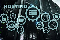 Web Hosting Technology Internet and Networking Concept. On Server room background. Virual screen. royalty free stock images