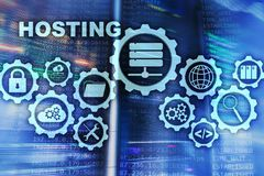 Web Hosting Technology Internet and Networking Concept. On Server room background. Virual screen royalty free illustration
