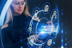 Free Web Hosting. The Activity Of Providing Storage Space And Access For Websites. Business, Modern Technology, Internet And Networking Royalty Free Stock Image - 216516486