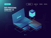 Web hosting, user interface development laboratory concept, data storage in cloud, database and data center icons dark. Neon isometric vecotr Royalty Free Stock Images