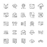 Web Hosting Vector Icons Set. This is a doodle icon set with the emphasis on web hosting and networking. The elements are very well designed to convey the vector illustration