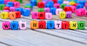Web hosting words on table Stock Images