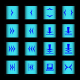 Web icon 16 blue_. Web Icons blue arrows control on a light blue button black background Vector Illustration