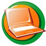 Web Icon Button. Laptop. Orange laptop internet icon button. Isolated on white Royalty Free Stock Images