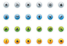 Web Icon Buttons_circle. Vector 24 web icons on 4 colourful web buttons Stock Image