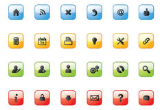 Web Icon Buttons_square. Vector 24 web icons on 4 colourful web buttons Stock Images