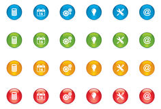 Web Icon Buttons. Vector web icon buttons x 4 different colors. Including calculator, calender, setting, idea, tools, email buttons Stock Photos