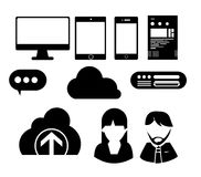 Web icon creative. Black white  icon web cloud support team desktop tablet smart phone for website graphic and Royalty Free Stock Image