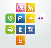Web icon elements arrows with buttons social media Royalty Free Stock Photo