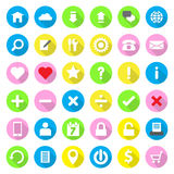 Web icon flat style on colorful circle background with long shadow. In jpeg and eps 10 vector file format Stock Images