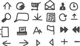24 web icon. 24 hand drawn web icon Stock Images