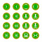 Web icon 16. Web icons set of control round white on a green-orange field Stock Photo