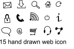 15 WEB ICON. 15 new hand drawn web icon royalty free illustration