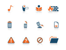Web icon series. Set of blue and orange web icons from a series in my portfolio Stock Photo