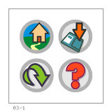 WEB: Icon Set 03 - Version 1. 4 colored icons in a circle shaped buttons for the web. Please check the complete set and other versions Stock Images