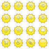 Web icon set 1 (16 star butto. Icon set 1 (16 star buttons: up, down, left, right, diagonal, back up, back, arrows, clouds, shopping card, wheelchair, attachment stock illustration