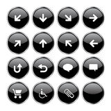 Web icon set 2 (16 black. Icon set 2 (16 black buttons: up, down, left, right, diagonal, back up, back, arrows, clouds, shopping card, wheelchair, attachment vector illustration