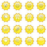Web icon set 2 (16 star butto. Ns: document, smiley, sad face, neutral face, flag, unlocked, locked, prohibited, folder, link, radioactive, ok, shield, search royalty free illustration