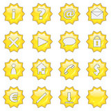 Web icon set 3 (16 star button. Icon set of 3 (16 star buttons exclamation, question, at, mail, delete, arrow, cloud, lock, man, home, telephone, dollar, euro royalty free illustration