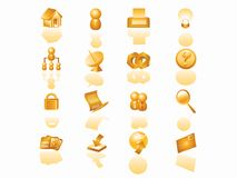 Web icon set. Golden color or orange color web icon set Stock Photos