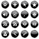 Web icon set 4 (16 black. Buttons: cog, plus, cursor, star, sound on, sound off, note, printer, rss, cloud, user, wizard, pen, blank stock illustration