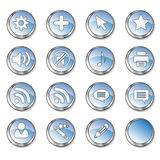 Web icon set 4 (16 black. Web icon set 4 (16 blue buttons: cog, plus, cursor, star, sound on, sound off, note, printer, rss, cloud, user, wizard, pen, blank stock illustration