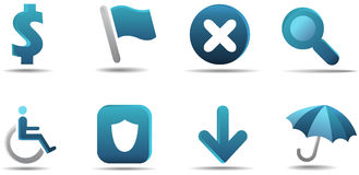 Web icon set 4 | Aqua series. Aqua icon series for your web page stock illustration