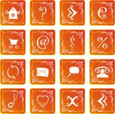 Web icon set. Web icons and buttons in orange background Royalty Free Stock Photo