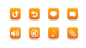 Web icon set 6| Apricot series. A collection of 3d looking orange web icons stock illustration