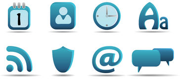 Web icon set 6 | Aqua series Royalty Free Stock Images