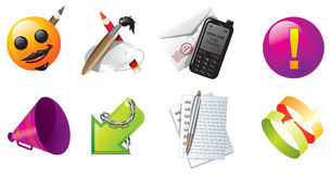 Web icon set. Web icons set, notepad, pen, link Royalty Free Stock Photo