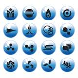 Web Icon set. Cool web icon graphics on aqua buttons royalty free illustration