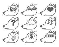 Artificial intelligence - AI icon set `Dog-Side` royalty free illustration