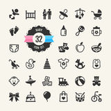 Web icon set. Baby. Toys, feeding and care Stock Images