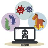 Personal computer security - Malware stock illustration