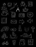 Web Icon set doodle isolated Royalty Free Stock Photography