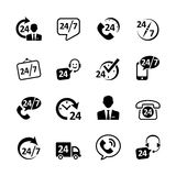 Web icon set -24 hour. Service, support, delivery Stock Images