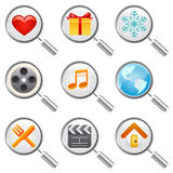 Web icon set with magnify glass. Web icons with magnify glass illustration vector Royalty Free Stock Photo