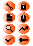 Web icon set orange Stock Photography