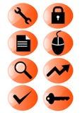 Web icon set orange Stock Photography