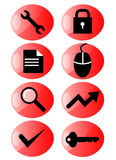 Web icon set red Stock Images