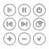 Web icon. Set of vector grunge brushes. Abstract hand drawn ink Royalty Free Stock Photos