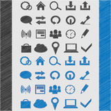 Web icon set for your design. sketch style blue and black Stock Photography