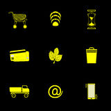 Web-icon 9 square black_ yellow Royalty Free Stock Photo
