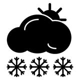 Web icon. Sun, clouds and snow. Vector icon isolated on white. Stock Image