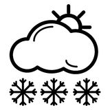 Web icon. Sun, clouds and snow. Vector icon isolated on white. Royalty Free Stock Images